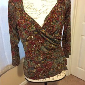 Exotic blouse forest print long sleeve smal